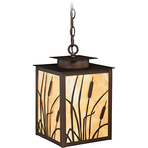 Outdoor Pendant 1 Light Fixtures with Burnished Bronze Finish Steel Material Medium 9