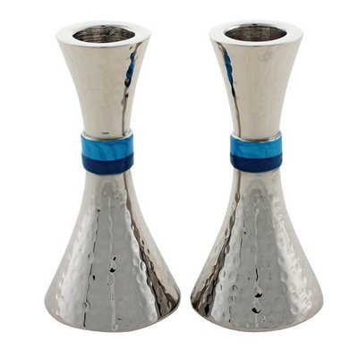 Art Judaica Modern Hammered Aluminum Candlesticks for Shabbat and Holidays (Silver with Turquoise Band, 4 1/2'')