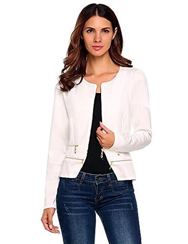 Zeagoo Women's Casual Zipper Cardigan Blazer O Neck Slim Fitted Office Jacket (M, White) (Office Coat)