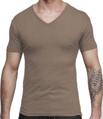 Men's New Lycra Jersey V-Neck Short Sleeve T-Shirt In Tan Size X-Large