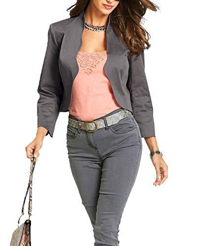 Femme Manteau Blazer Cardigan Couleur Unie Veste Manches Longues Jacke Top Court Gris