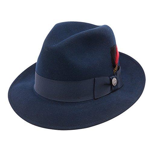 Stetson Dobbs TWFRDK-8220 Men's Frederick Wool Felt Fedora Hat, Navy - 7 1/2