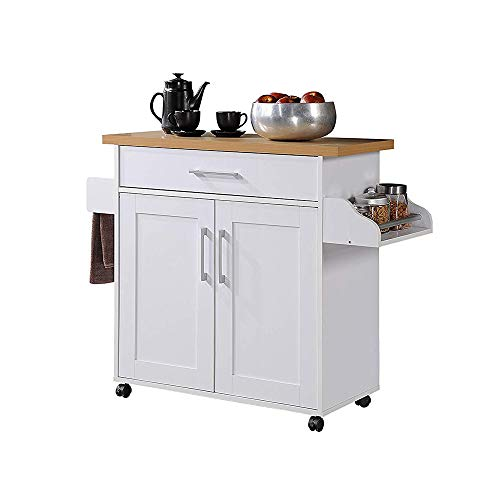 Hodedah Kitchen Island with Spice Rack Towel Rack amp Drawer White with Beech Top