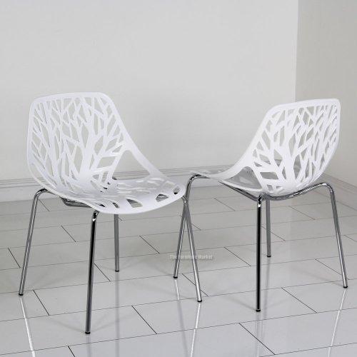 Amazon.com   Fancierstudio Birch Sapling Plastic Accent Chair, White (Set  Of 2)   Chairs