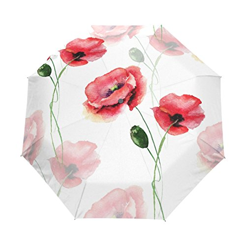 Top Carpenter Poppy Flower Anti UV Windproof Travel Umbrella Parasol with Auto Open/Close Button