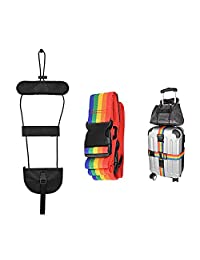 SlowTon Cross Luggage Straps Set, Colorful Adjustable Heavy Duty Long Suitcase Belts with Travel Tags Accessories and a Bag Bungee for Connect Bags Together