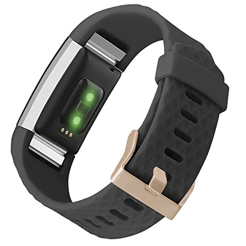 UMAXGET for Fitbit Charge 2 Band Accessory, Sport Silicone Replacement Wristband with Rose Gold Buckle for Women Men Black Small