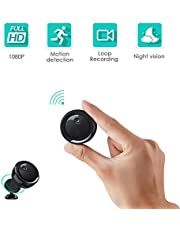 Mini Spy Cameras,FREDI Hidden Camera,Video Recorder 1080P HD Small Wireless Cam WiFi Portable Home Surveillance Camera,Tiny Security Cam Covert Nanny Cam with IR Night Vision,Motion Detection