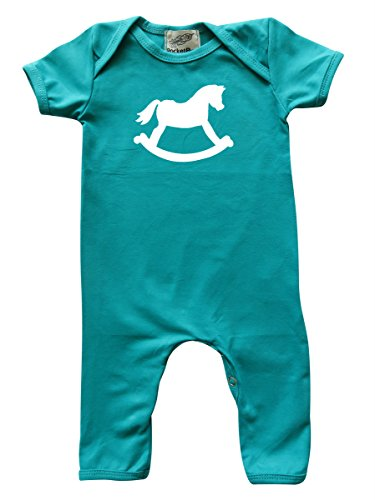 Rocket Bug Teal 'Rocking Horse' Baby Romper For Boys and Girls (6-12 Months, Teal)