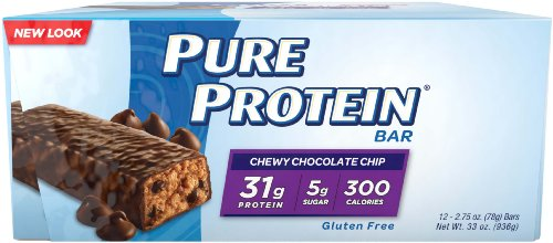 Pure Protein High Protein Bar, Chewy Chocolate Chip, 2,75 once Bar, 12-Count
