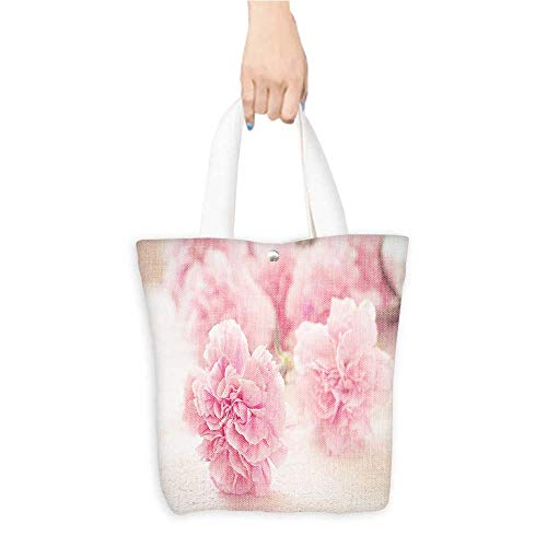 Long Handled Tote Bag Pink peony flowers Practical and Eco-Friendly W16.5 x H14 x D7 INCH
