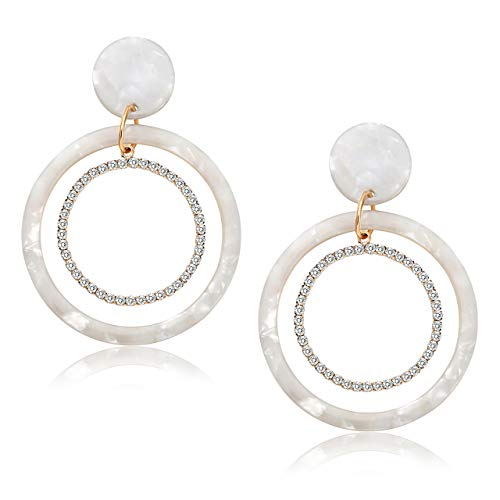 DAXI Acrylic Dangle Earrings for Women Mottled Statement Resin Hoop Earrings Crystal Double Circle Drop Earrings Fashion Jewelry (D White)