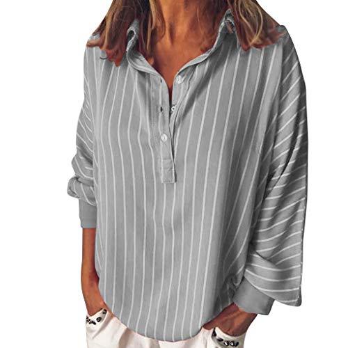 Kulywon Fashion Woman Loose Casual Striped Button Lapel Long Sleeve Shirt Top Blouse 2019 Gray
