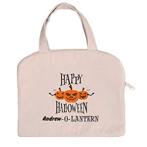 Personalized Custom Text Happy Halloween Cotton Canvas Tablet Bag -