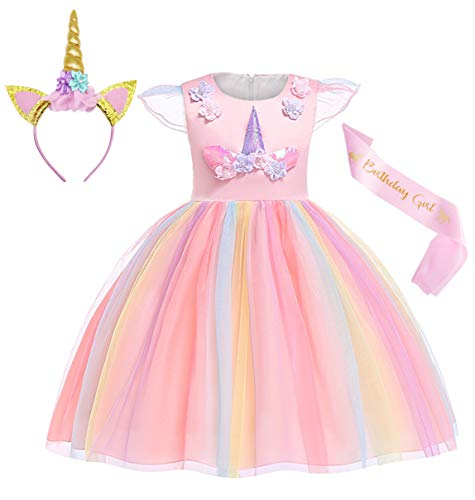 Cotrio Unicorn Costume Flower Girls Pageant Princess Party Dress with Headband 3-Pieces Rainbow Colourful Tutu for Birthday Halloween (4T, 3-4Years, Pink, 110) -
