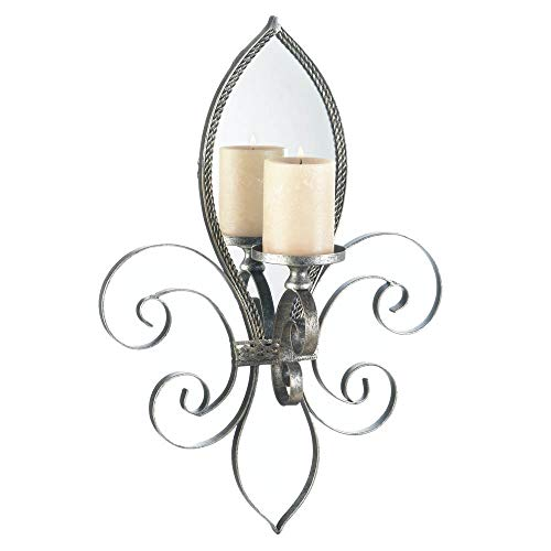(French Flair Iron Frame Beautiful Wall Candle Sconce Holder Stand with Back Mirrored - Romantic Festival Decor Light)