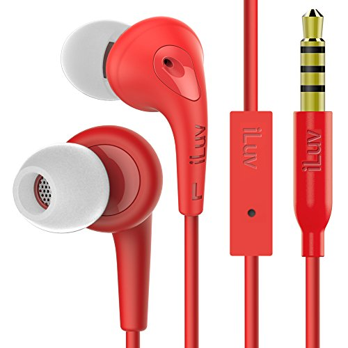 (iLuv In-Ear High Performance Stereo Earphones with Noise Isolation, Ergonomic Angled Ear Tip, Hands-free, Sweatproof, and Soft Touch Rubber-Coating for iPhone, iPad, Smartphones, and Tablets )
