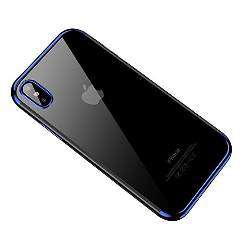 HONTECH Compatible iPhone Xs Max 2018 Case, Ultra-Thin Clear Soft TPU Plating Shockproof Protective Cover 6.5 inch, Blue