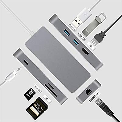 Yuybei USB Hub USB C Adapter 7 in 1 Type C Hub with Ethernet Port 4K HDMI 2 USB 3.0 Ports PD Charging Support SD TF Card Reader Compatible for Flash Drive Laptops and More Ultra Slim Data Hub