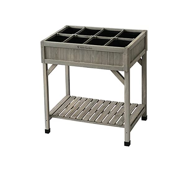 VegTrug Planter 8 Pocket Herb Garden Grey Wash 1 Grow 8 different herbs in the pockets to prevent Excessive growth Easy to build comes flat pack Easy working height no more bending or kneeling