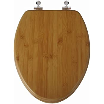 TOPSEAT Native Impression Elongated Toilet Seat w/ Brushed Nickel Hinges, Natural Bamboo