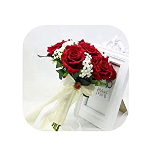 mamamoo 2019 Artificial Foam Flowers Foam Roses for Wedding Arrangement Bridal Bouquet Hot Red Wedding Bouquets,as The picture1 8