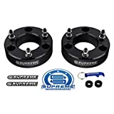 "Supreme Suspensions - Silverado 1500 Lift Kit Front 2"" Leveling Lift Kit for [2007-2019 Chevy Silverado 1500] and [2007-2019 GMC Sierra 1500] BLACK Aircraft Billet Strut Spacers"