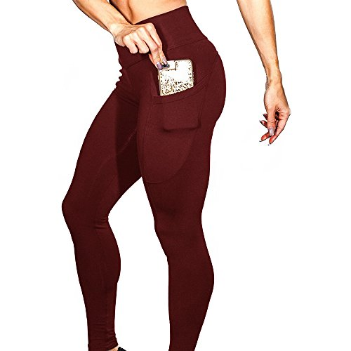 Oksale Womens Workout Leggings Fitness Sports Gym Running Yoga Athletic Pants (XL, Pure-Wine) -