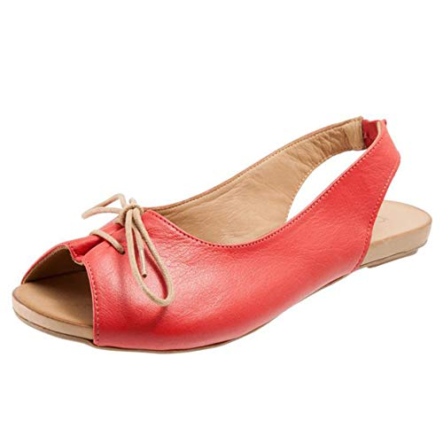 New in Respctful✿Women's Flat Leather Summer Sandals Slip On Flats Ladies Casual Pee Toe Slingback Lace Up Sandals Red