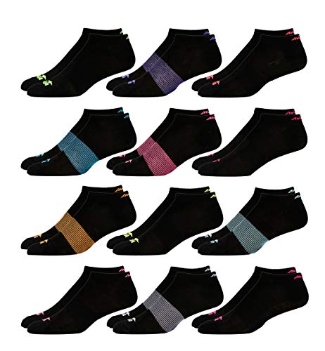 (Avia Women's 12 Pack Athletic Low Cut Socks (Black Multi, Shoe Size: 4-10))