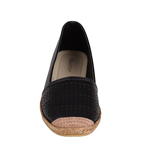 Black Flat Espadrille Slip Roundel Wanted on TaqwpRgp