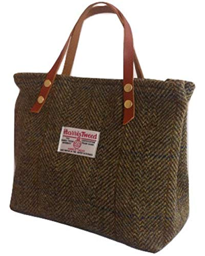 Harris Tweed Ladies Runner Bag - FREE STANDARD SHIPPING - Winter Burn Green Brown Plaid Design Hand Made in Scotland