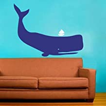 Whale Wall Decal Sea Animal Wall Decor Sea Fish Sticker Kids Room Decor Removable Wall Art(Blue+White,s)
