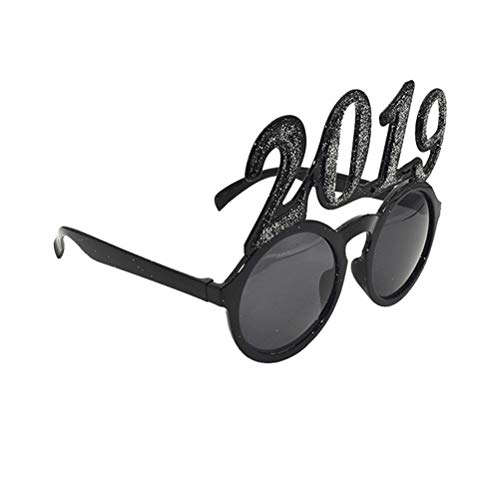 BESTOYARD Glitter 2019 Glasses New Year Photo Props Party Favors for Christmas Costume Party -
