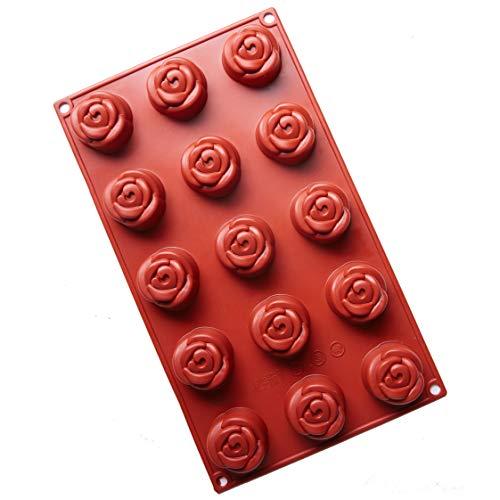 - Joy House Rose Silicone Cake Mold, 15 Holes Baking Mold Bakeware Nonstick Silicone Cake Pan for Cake Decoration