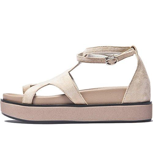 SOHOEOS Sandalias para Mujer Señoras Verano nueva plataforma Plataforma Señoras Dreamgirl tiras de sandalias hebilla Casual atado los pies sandalias romanas señoras Albaricoque