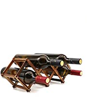 Wooden Wine Rack Small Wine Bottle Stand Holder Storage Free Standing Folding Wooden Racks Countertop Table Organizer, Fit Slim Bottles up to 750 ml - Carbonized Wood, 5 Slot