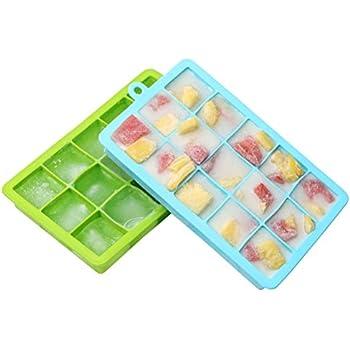 Amazon Com 2 Pack Ice Cube Trays Flexible Silicone Ice