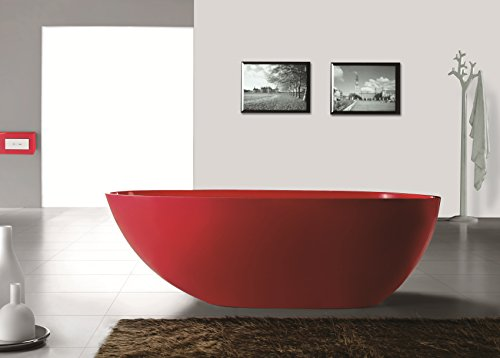 ADM Matte Red Inside White Outside Stone Resin Sink SW-105R by ADM Bathroom Design