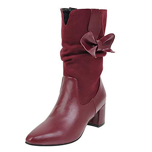 JESPER Women Block Heel Pointed Toe Ankle Boot Faux Leather Suede Middle Tube Modern Shoes Red