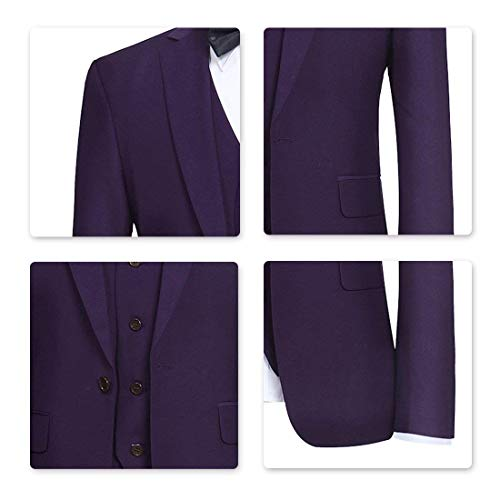 YFFUSHI Men's Slim Fit 3 Piece Suit One Button Business Wedding Prom Suits Blazer Tux Vest & Trousers