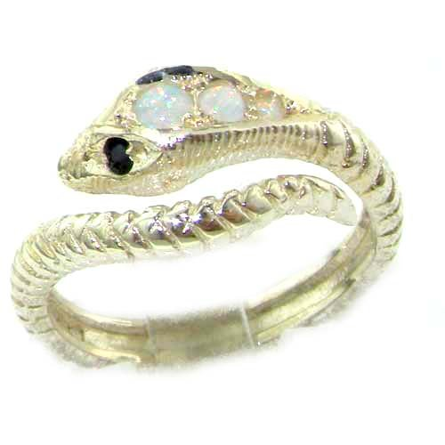 925 Sterling Silver Natural Opal and Sapphire Womens Band Ring - Sizes 4 to 12 Available by LetsBuySilver