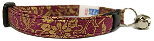 Breakaway Cat Collar in Maroon with Gold Paisley (U.S.A. Made) - Paisley Cat Collar