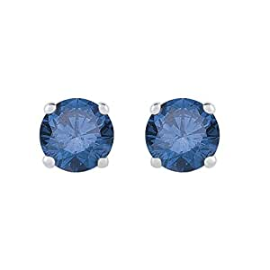 Blue Diamond Earring Studs in 14K White Gold (1/4 cttw)