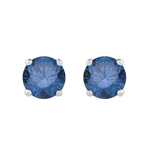 1 ct. Blue – I1 Round Brilliant Cut Diamond Earring Studs in 14K White Gold