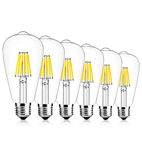 Create Bright ST64 Dimmable Edison Style Vintage LED Filament Light Bulb,6W(60W Incandescent Equivalent), E26 Medium Base Lamp,520lm,6400K Daylight,360°Beam Angle,ETL Listed,Pack of 6 -