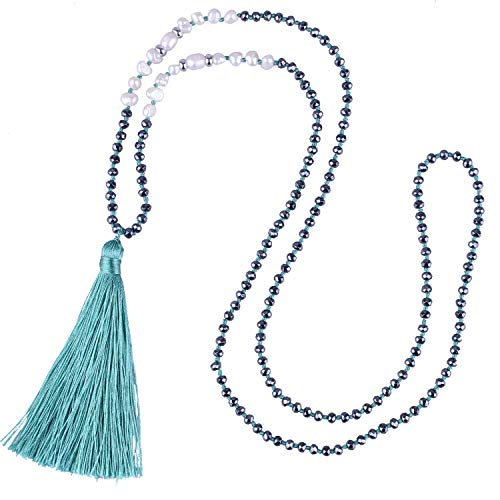 C·QUAN CHI Long Chain Tassel Necklace Handmade Natural Pearl Crystal Beaded Pendant Bohemian Women Statement Jewelry for Women Gifts for Girls (Light Green)