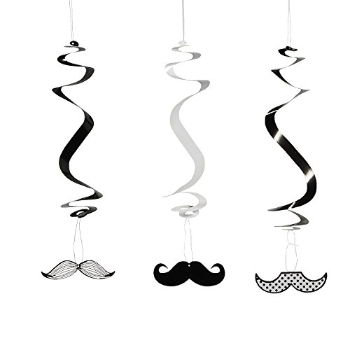 Fun Express Paper Mustache Dangling Swirls Set, (12 -
