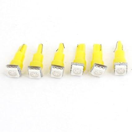 eDealMax 6 x Amarillo 5050 SMD LED del tablero de instrumentos Medidor de bulbo de luz