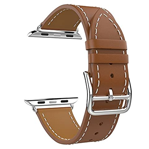 MoKo Band for Apple Watch Series 1 Series 2, Luxury Genuine Leather Smart Watch Band Strap Single Tour Replacement for 42mm Apple Watch Models, BROWN (Not Fit 38mm Versions)
